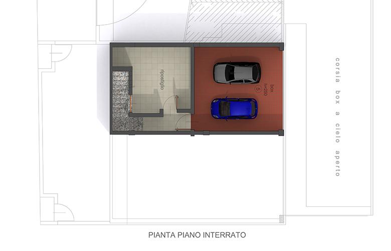 BILOCALE TRIFOGLIO ROSSO - PIANTA PIANO INTERRATO